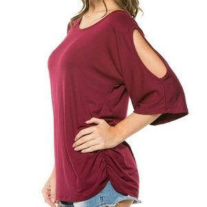 NWOT Ruched Dolman Cutout Burgundy Top