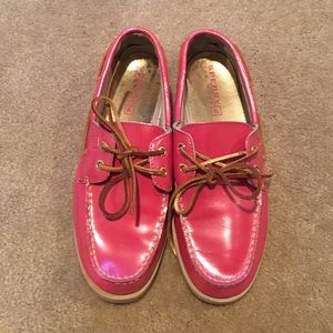 Pink Sperry Topsider boat shoes