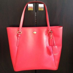 Coach Bags - Coach Red Saffiano Leather Tote Handbag & wallet