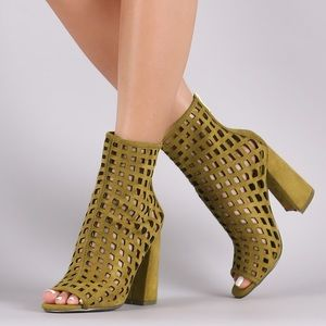 Suede Green cut-out Bootie