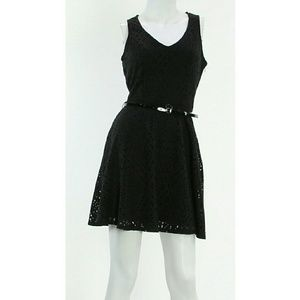 ♥Black Lattice Cutout dress Kneelength w/belt NWT