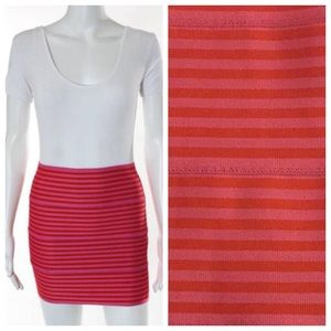 Pleasure doing business pink stripes mini skirt