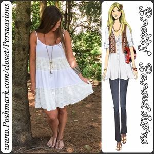 Pretty Persuasions Dresses & Skirts - SALE‼️NWT Pieced Lace Tiered Ruffle Hem Slip Dress