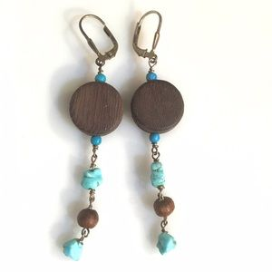 Turquoise stone and brown wood dangle earrings