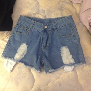 Pants - High waisted denim jean shorts distressed