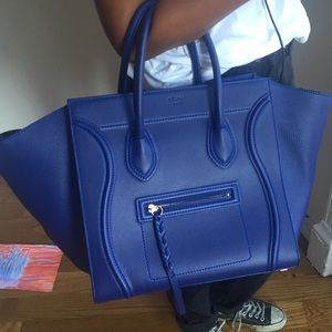 Auth Celine Calfskin Wool Mini Belt Shoulder Bag Handbag Beige X