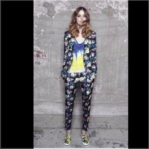 MSGM Pants - MSGM Multicolor Floral Print Silk Trouser Pants