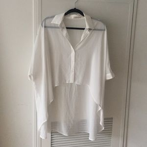 LF Tops - Sheer White LF High Low Blouse