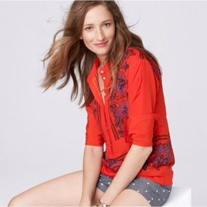NWT J. Crew Paisley Tunic in Red