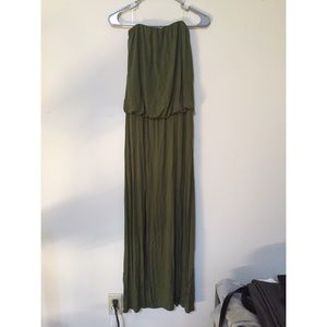 Olive Green Strapless Maxi Dress With Sexy Slits
