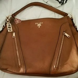 Prada Handbags - Authentic Prada Calf Leather Bauletto Rame Hobo