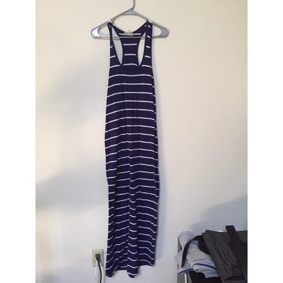 Kirra Dresses & Skirts - Navy And White Striped Maxi Dress