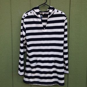 Kenar Other - Striped Nautical Beach Cover Up w/ Hood Size Small
