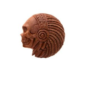 Jewelry - Red Saba  Plug with Hand Carved Indian Face
