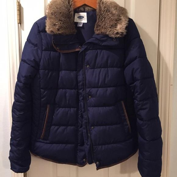 50% off Old Navy Jackets & Blazers - Navy Fur Collar Puffer Coat ...