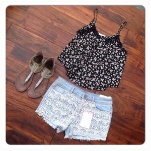 Jou Jou Lace & Denim Cutoffs Shorts NWT