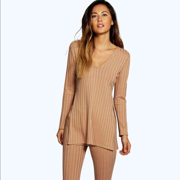 e2f601a88887 Boohoo Tops | Nwt Lois Rib Knit Coord Pant And Shirt Set | Poshmark