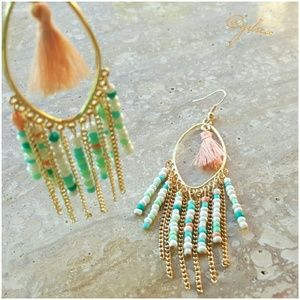 Peach and mint tassel statement earrings