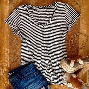 Caslon Tops - Caslon Black & White Striped Top