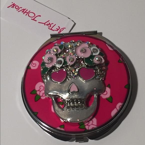 Betsey johnson makeup pink flower skull compact mirror poshmark betsey johnson pink flower skull compact mirror mightylinksfo