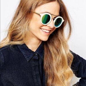 Mirrored Blue-Green, White & Gold Sunglasses 🕶