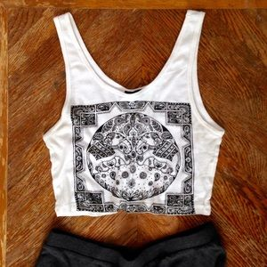 Forever 21 Tops - Forever 21 White Indian Elephant Crop Top