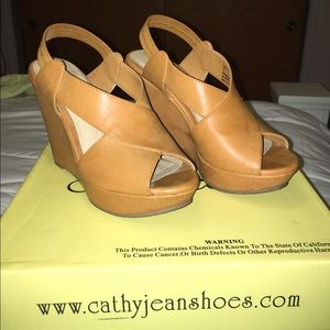 Cathy Jean Shoes - Comfy Cathy Jean Camel Wedges