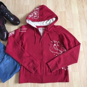 Hard Rock Cafe Embroidered Red Hoodie Japan Rare
