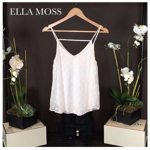 Ella Moss Tops - Ella Moss Silk Embossed Polka Dot White Top