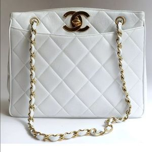 Authentic CHANEL Lambskin gold chain shoulder bag