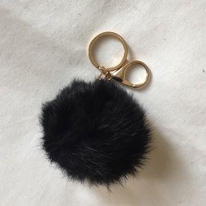 Rabbit Fur Pom Pom Poof Key Chain black