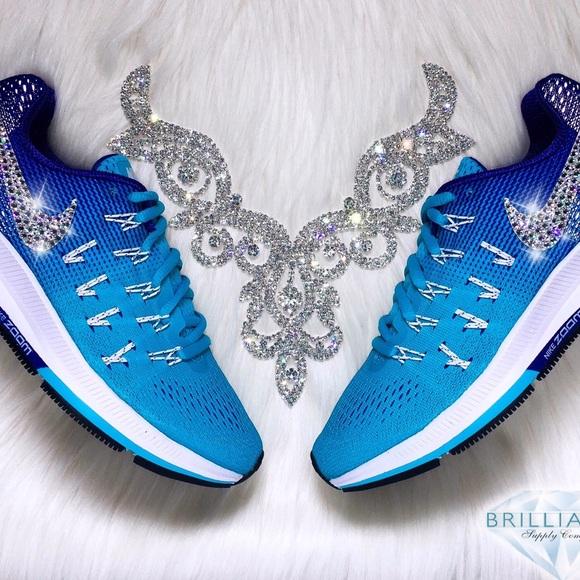 Swarovski Nike Pegasus 33 - Bling Nike Shoes Blue 84f81ddba41e