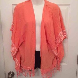 Salmon Pink Aztec Fringe Cover Up Cardigan