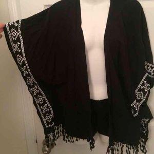 Black Aztec fringe cover up cardigan
