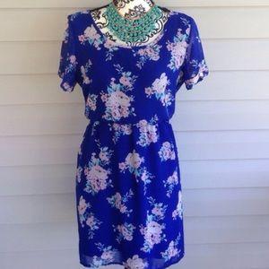 Dresses & Skirts - Royal Blue Cutout Back Floral Summer Dress
