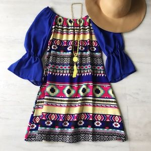 Aztec Off the Shoulder Dress