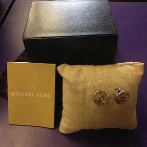 Michael kors large stud earrings champagne