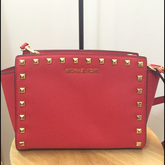 0a745e5f65ca Michael Kors Bags   Mk Selma Medium Studded Leather Messenger   Poshmark