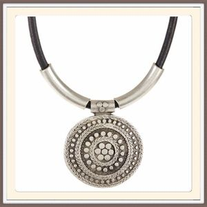 CHANOUR Jewelry - Leather Cord Circle Pendant Necklace.   NWT