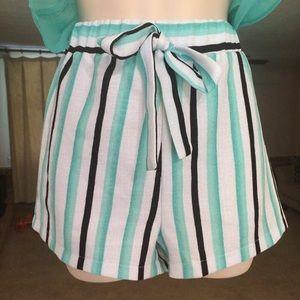 Mint/Black Striped Shorts