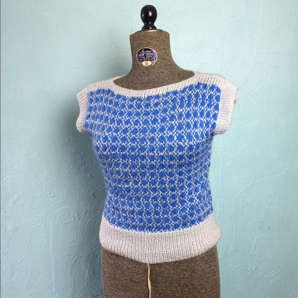 Vintage Tops Handmade Sleeveless Boat Neck Sweater Poshmark