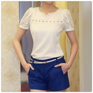 Tops - Very Elegant Short Sleeve Blouse