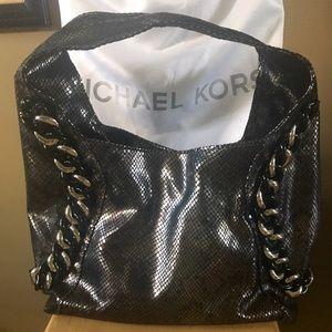 35c61d4ef2 Michael Kors Bags - MICHAEL KORS ID Chain Pewter Python Hobo