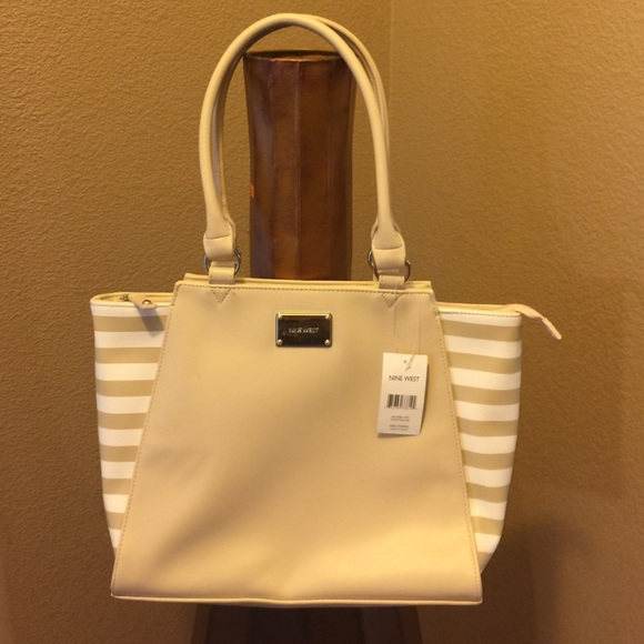 16dc94050 ... satchel black white; nine west purse tan and white new large ...