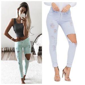 Vibrant M.I.U lilac distressed skinny jeans