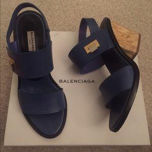 Balenciaga blue wedges