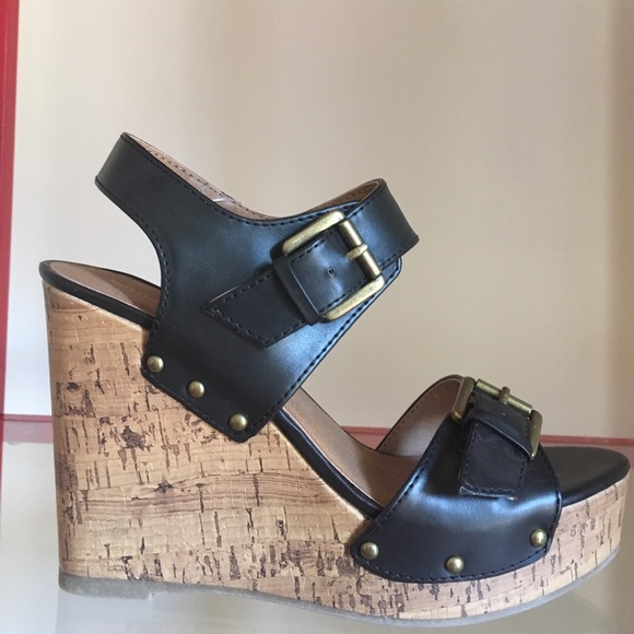7faa10e609ef Black and Cork Platform Wedge Sandal with Buckles
