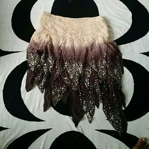Sequin Asymetric Silk Bebe Mini Skirt