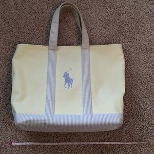 Ralph Lauren Large Canvas Tote Black Yellow