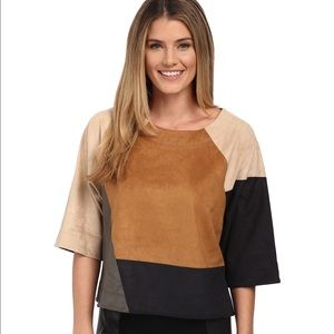 Vince Camuto Colorblock Faux Seude Top NWT